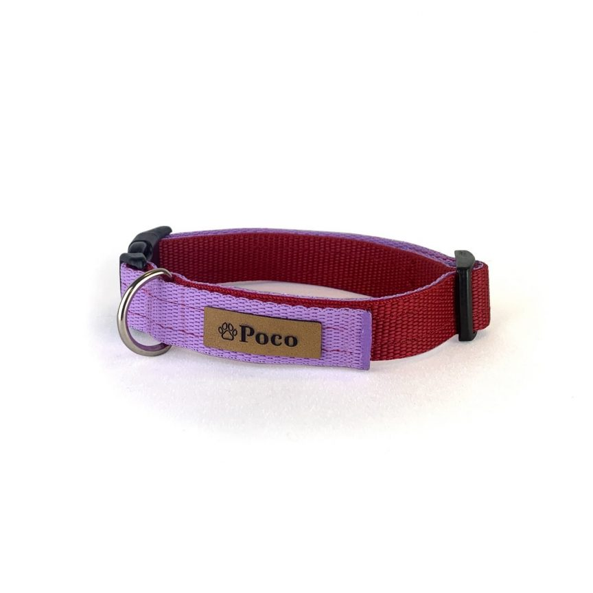 Coe Red and Lilac Dog Collar
